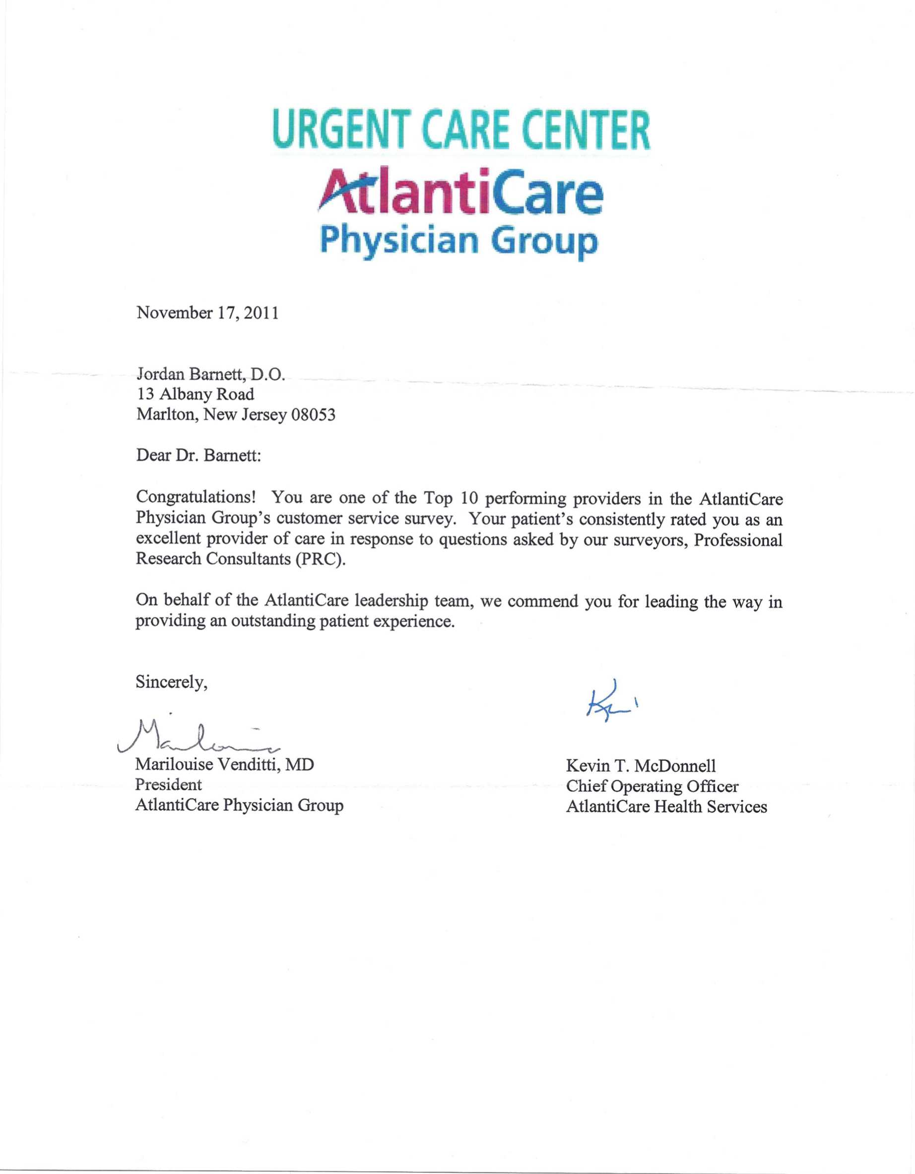 Rated one of the Top 10 Providers in the AtlantiCare Physician Group by An Independent Research Group