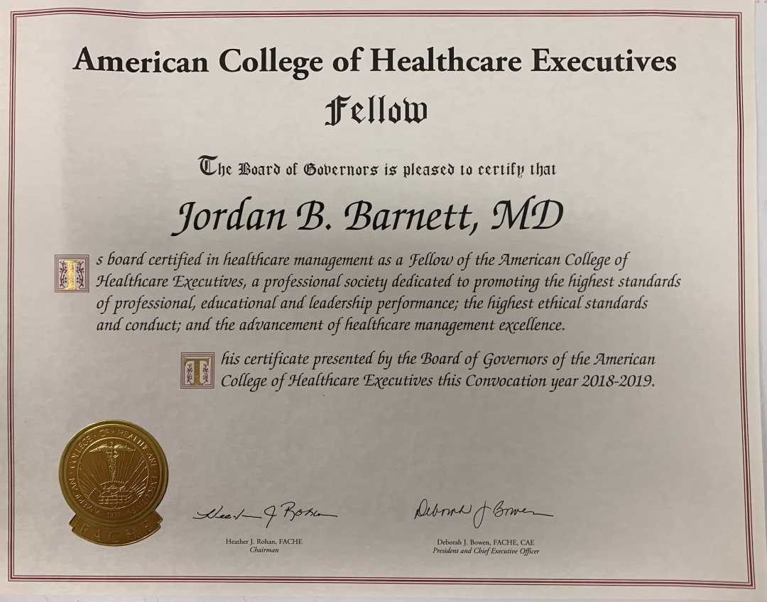 Advancement to Fellowship Status with the American College of Healthcare Executives