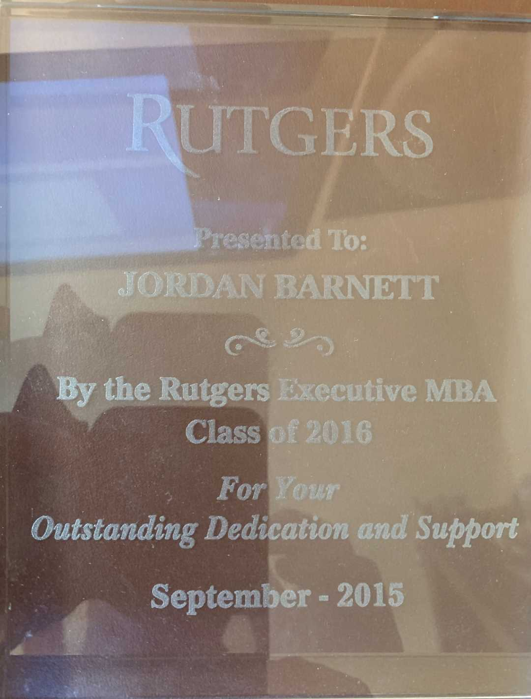 Award from the Class of 2016, Rutger's Executive MBA
