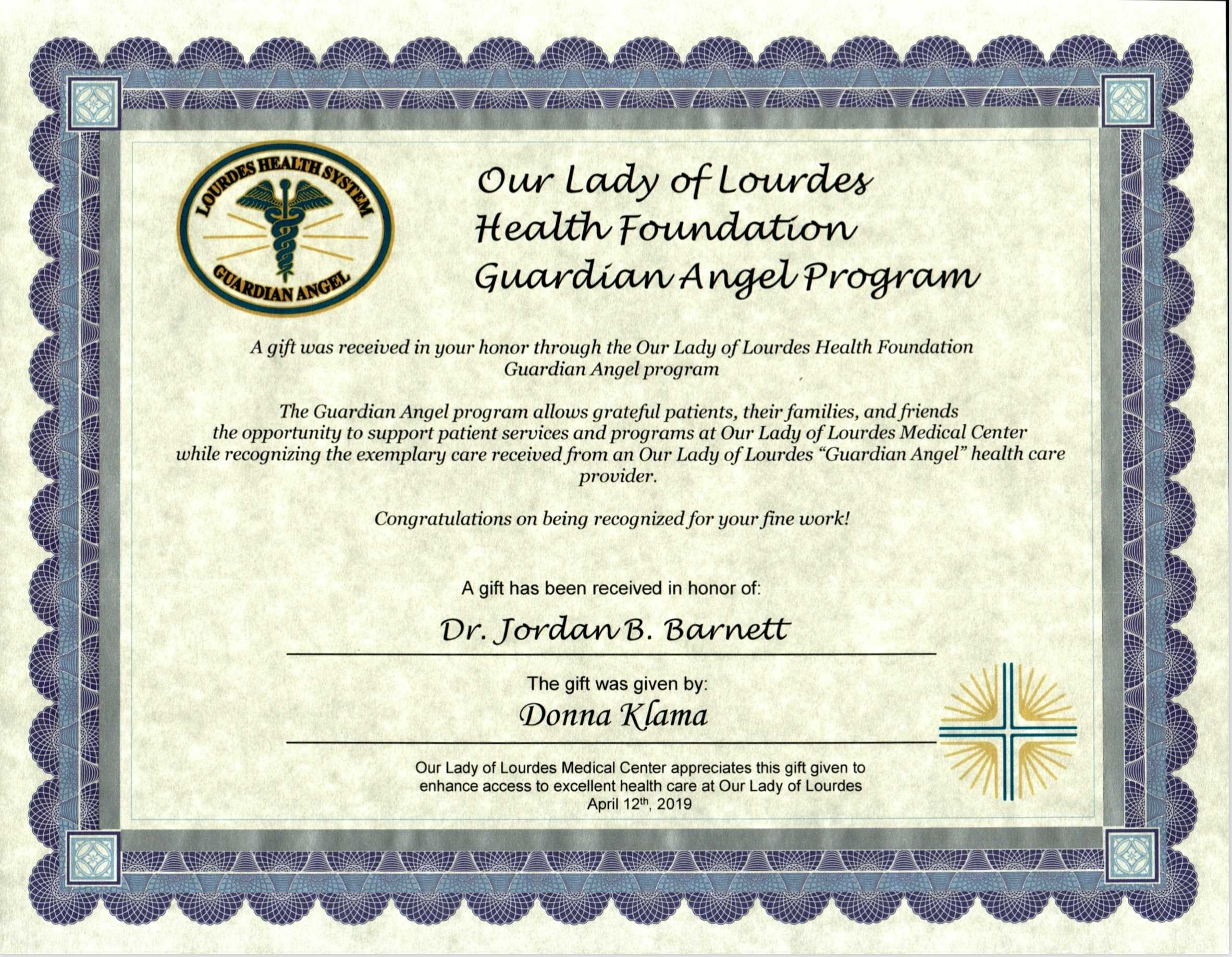 Recent Honored by a Donation to the Guardian Angel Program by a Patient